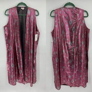 Lularoe Joy Vest Duster Pink Iridescent Size M